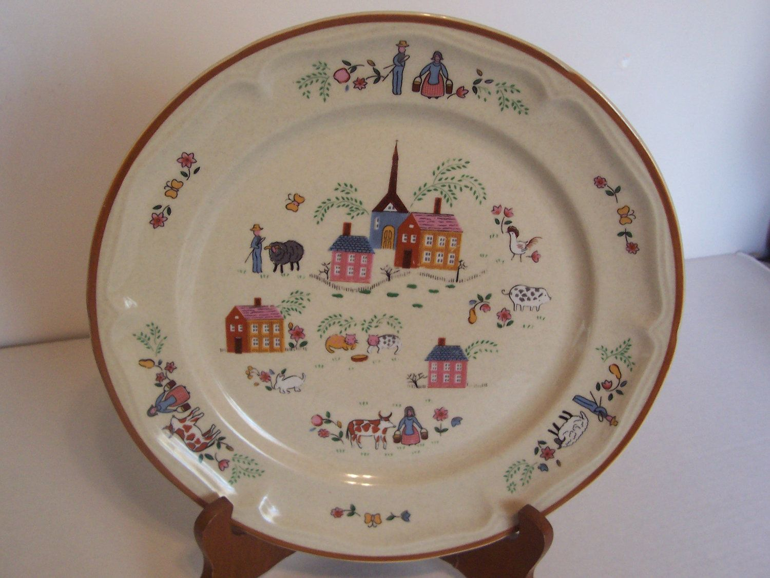 Dinner Plate Newcor Vintage Stoneware 1986 \ Our Country\  Amish Dutch Country Pattern Home Decor Dish Folk Art Farm Scene Replacement Dish & Our Country\