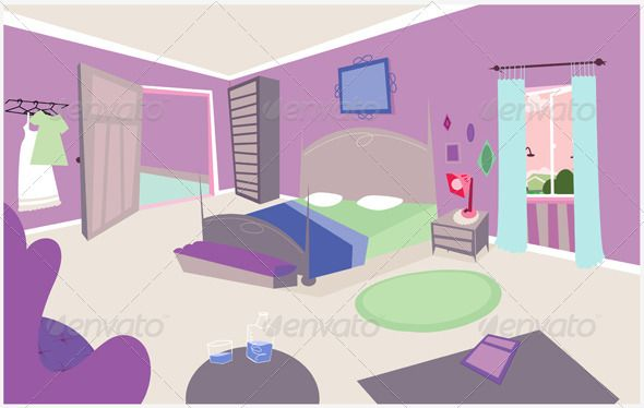 Vector Background Design Cartoon Bedroom Background Design