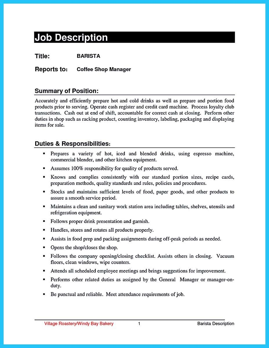 Cool 30 Sophisticated Barista Resume Sample That Leads To Barista Jobs,  Check More At Http  Barista Resume Example