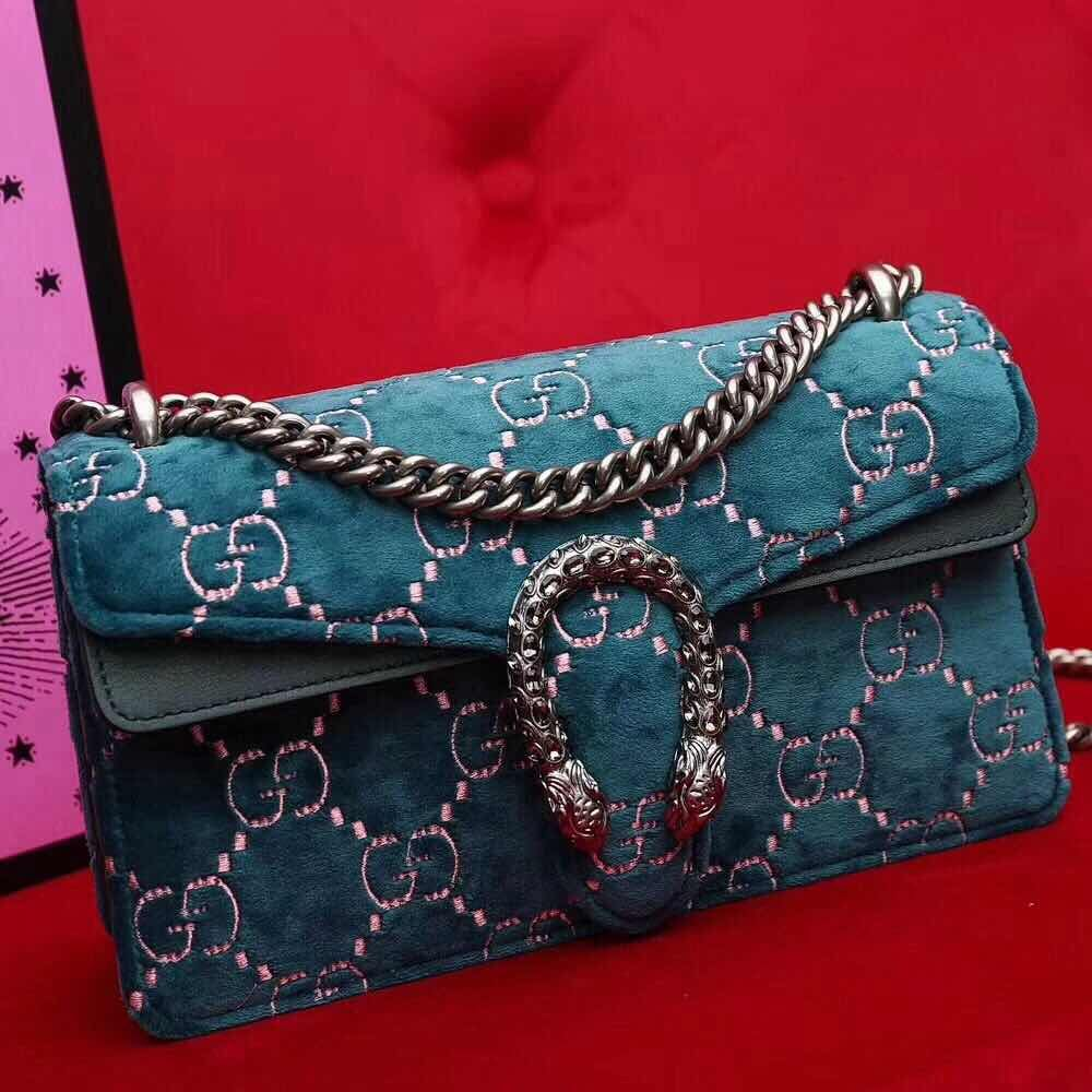 2c06a5bb4f0 Gucci Dionysus GG Velvet Small Shoulder Bag 499623 Blue 2018