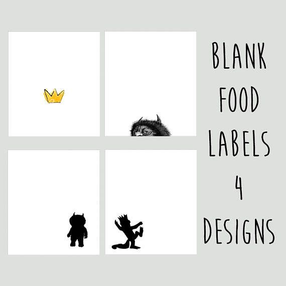 Where the Wild Things Are 1st Birthday Chalkboard Stickers Labels Silhouettes