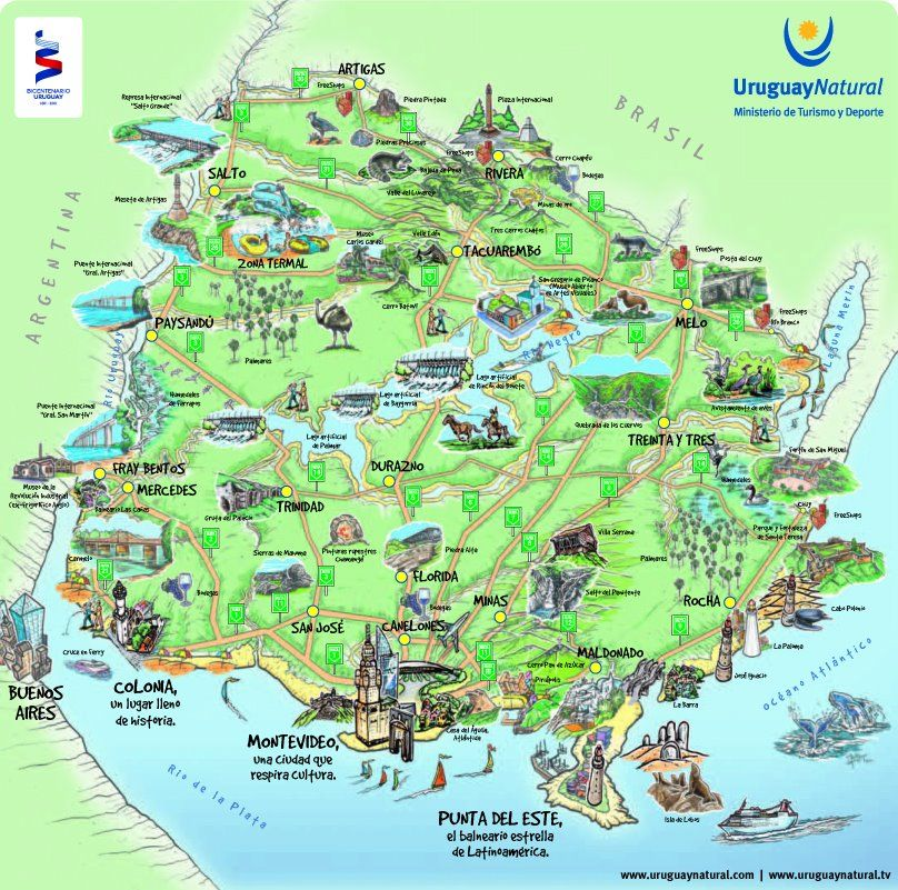Fun Map of Uruguay. Uruguay is a South American country known for ...