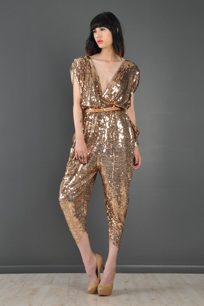 a399c14008e Sequin Encrusted Backless Draped Disco Jumpsuit