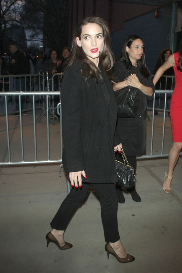 """Winona Ryder, """"Disconnect"""" film premiere 08 April 2013.  I love her makeup and her shoes!"""