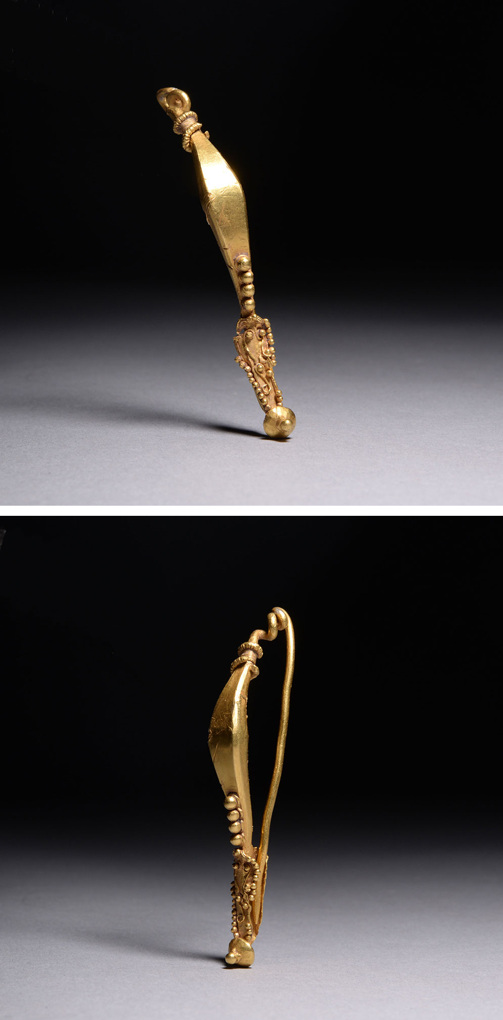 Ancient Roman Celtic La Tene Gold Brooch - 50 BC