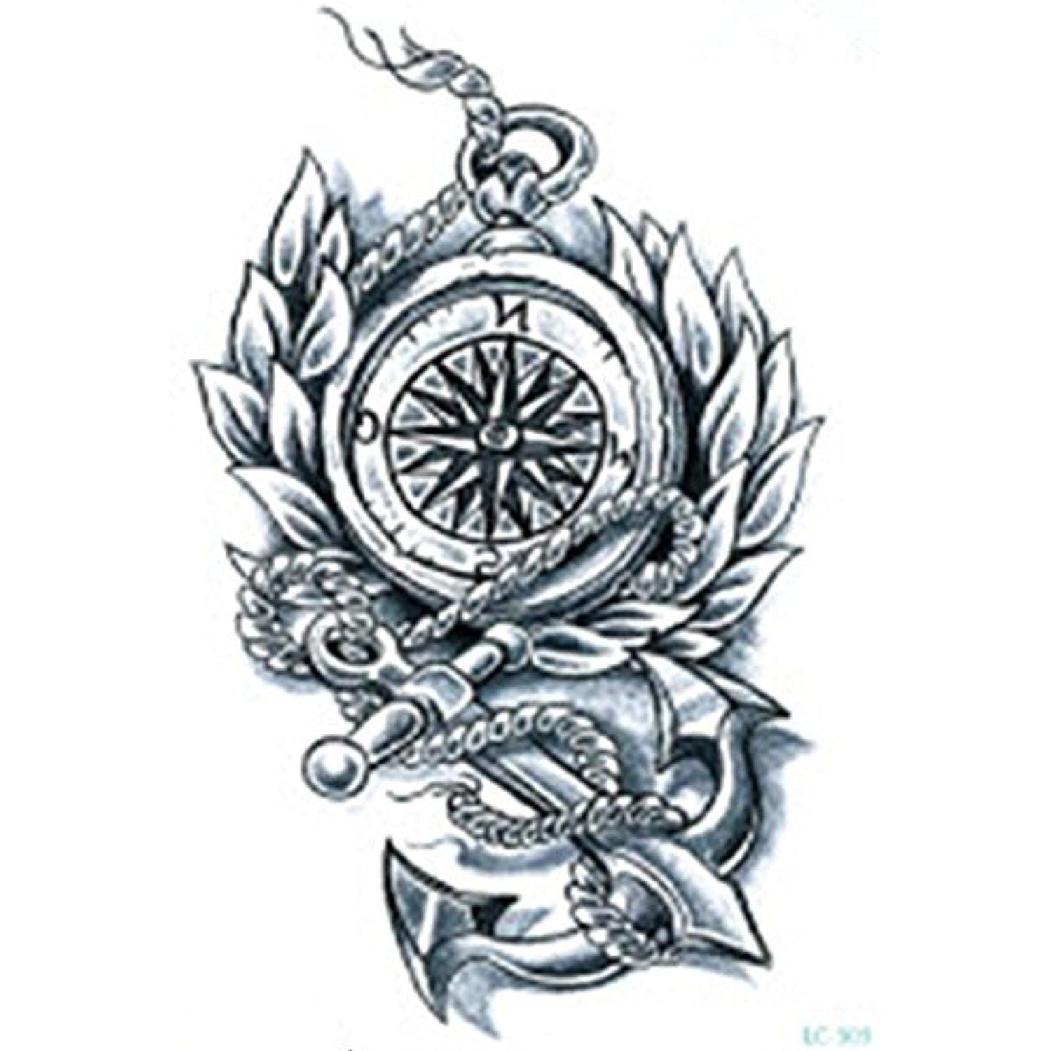846922033e864 Set of 2 Waterproof Temporary Fake Tattoo Stickers Cool Vintage Compass  Anchor Big * Check out this great product. (This is an affiliate link) # ...