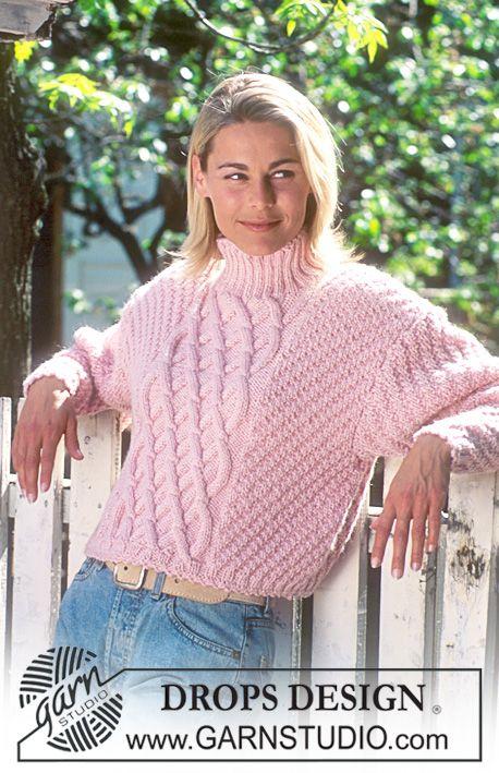 DROPS genser i Alaska med flettemønster. ~ DROPS Design