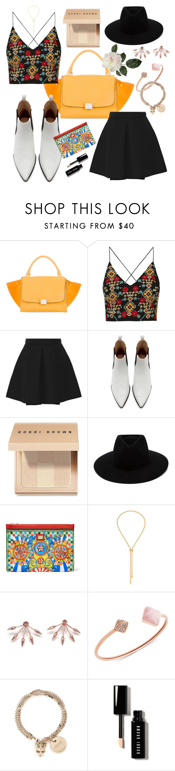 """Some Sunshine"" by vzaragoza ❤ liked on Polyvore featuring CÉLINE, Topshop, Alexander McQueen, Zara, Bobbi Brown Cosmetics, rag & bone, Dolce&Gabbana, Vita Fede, Pamela Love and Michael Kors"