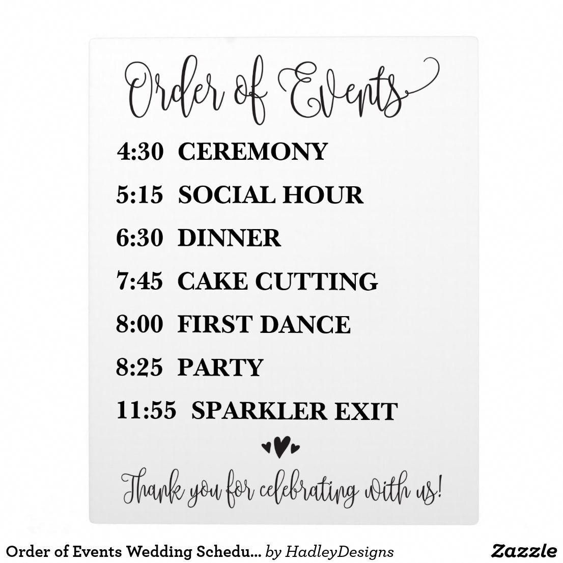 Order Of Events Wedding Schedule Sign Budgetweddingideas