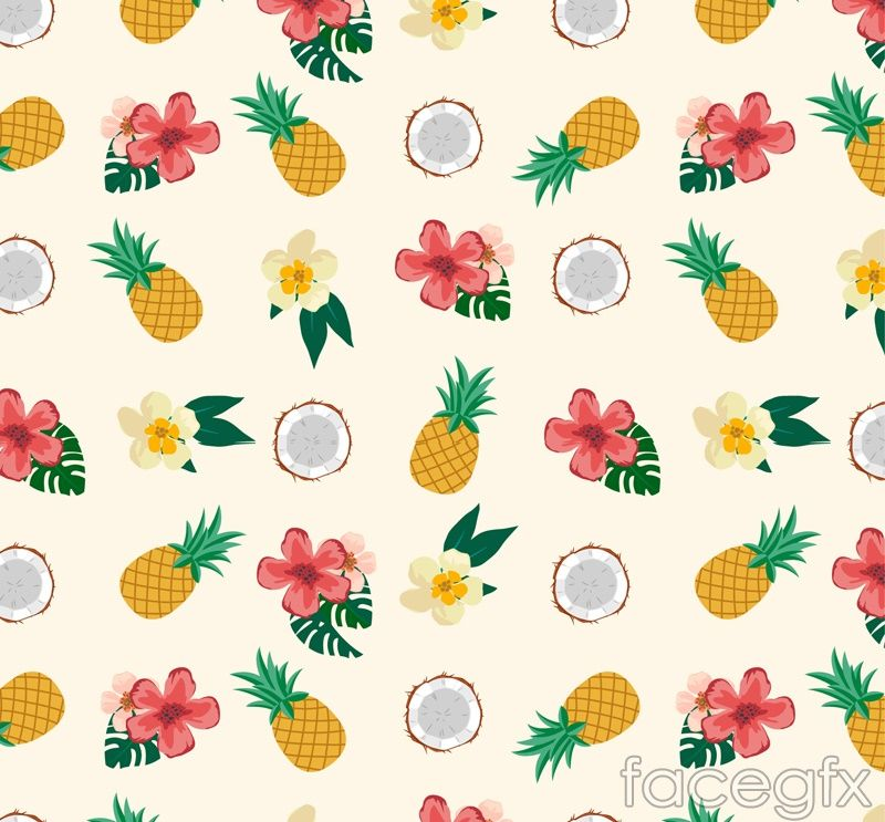 Tropical Fruits And Flowers Vector Pineapple Wallpaper Fruit Wallpaper Tropical Wallpaper