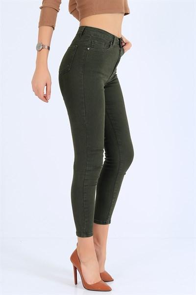 39 95 Tl Yuksek Bel Likrali Haki Bayan Kot Pantolon 25405b Modamizbir 2020 Pantolon Kotlar Moda Stilleri