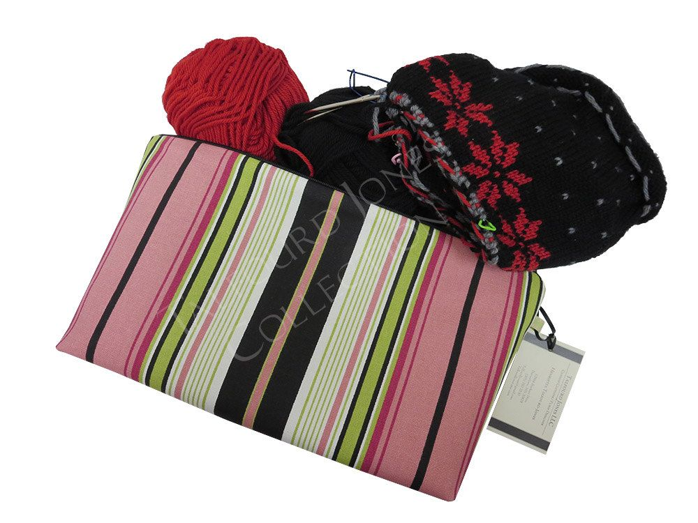 Terrace Stripe Large Project Pouch in Black, Green, Pink - Premier Prints - Zipper Makeup or Cosmetic Bag - Fabric Pouch - Handmade Mom Gift by TalfourdJones on Etsy