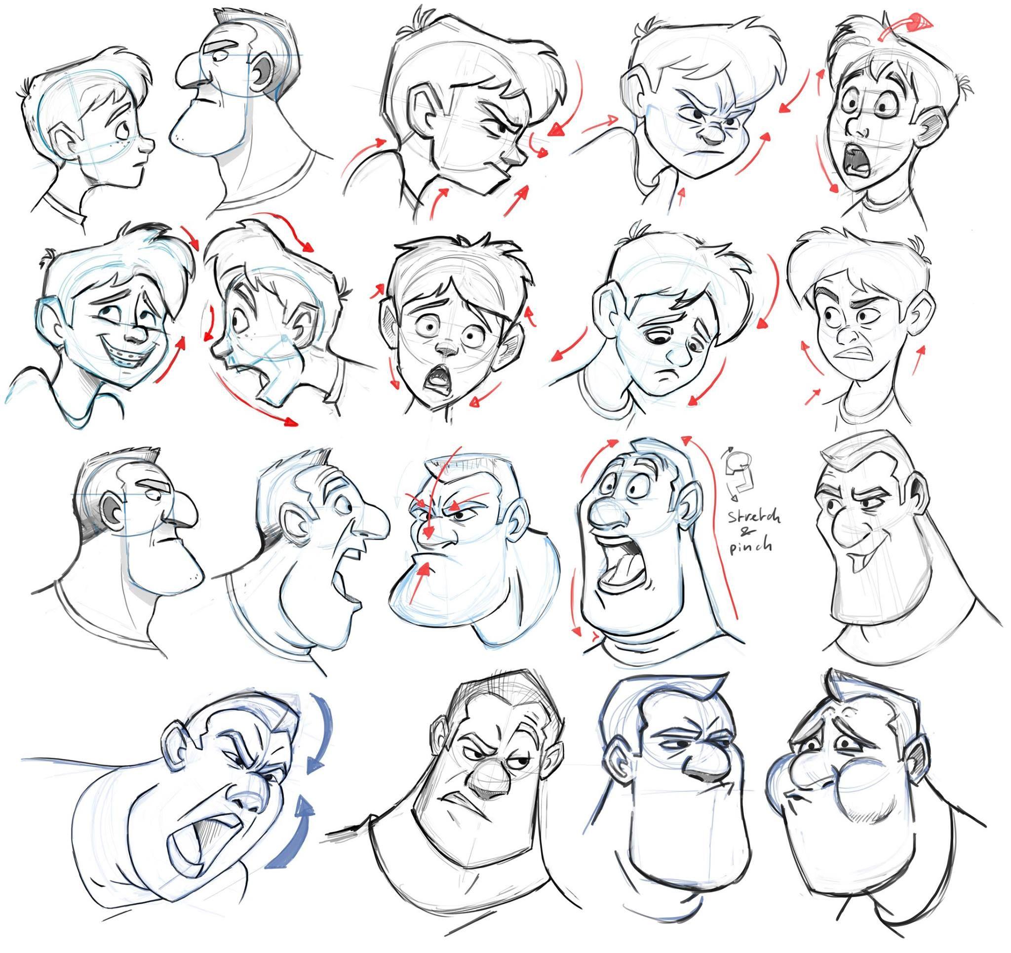 Мультяшные люди рисунки карандашом схемы