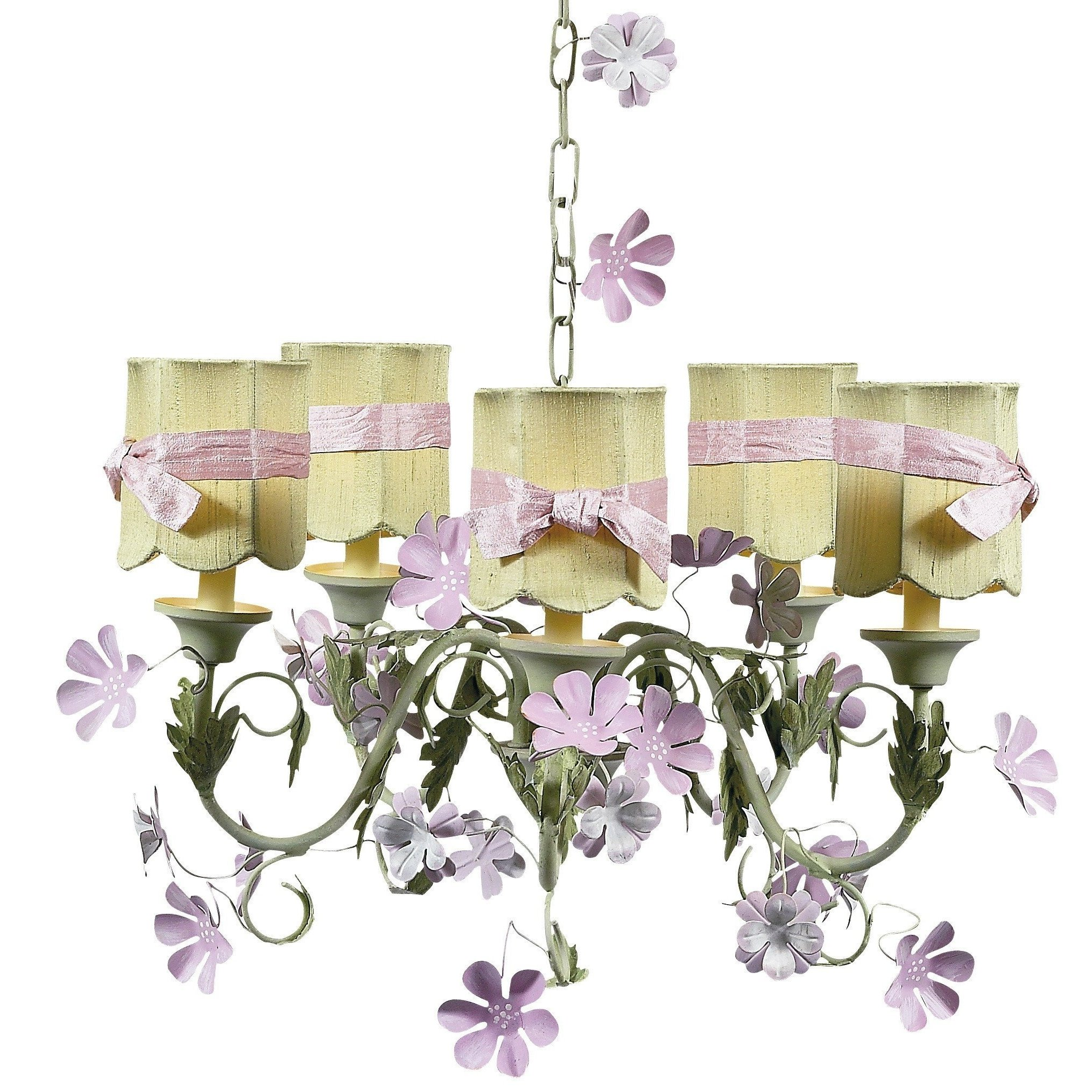 Leaf and flower pink and green five light mini chandelier with leaf and flower pink and green five light mini chandelier with scallop drum green with arubaitofo Gallery