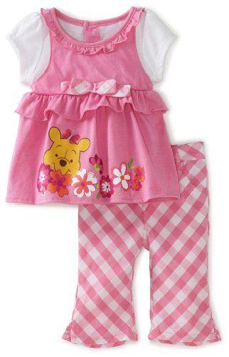Amazon Com Disney Baby Girls Infant Winnie Mock Shirt And