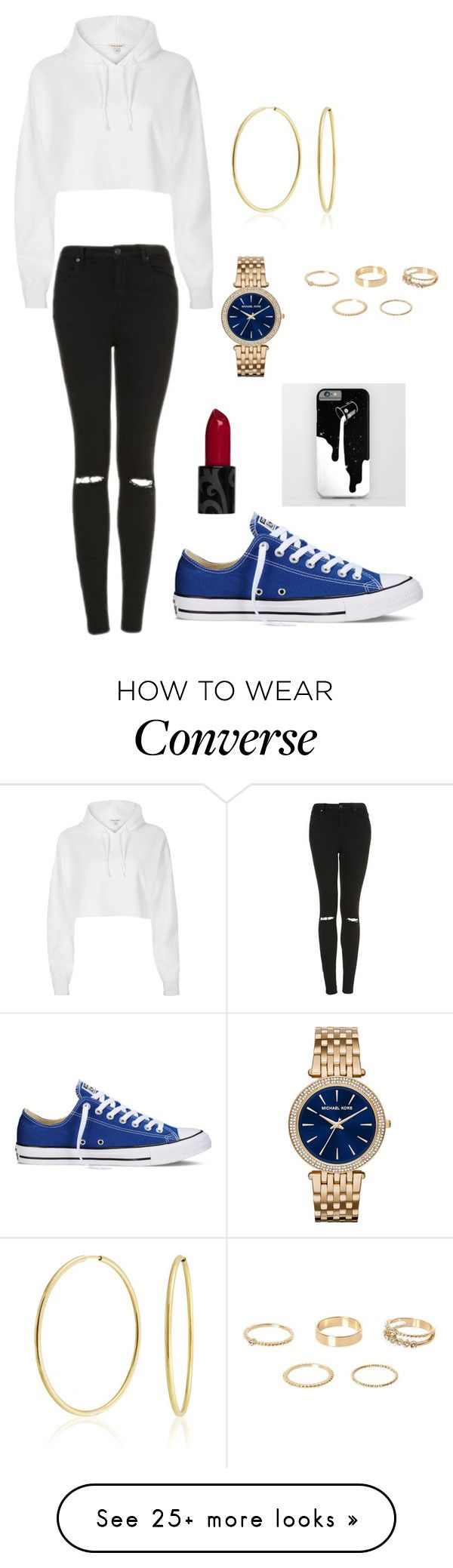 """""""Friday Night Chucks!!!!"""" by kelornp on Polyvore featuring Topshop, River Island, Converse, Bling Jewelry and Michael Kors"""