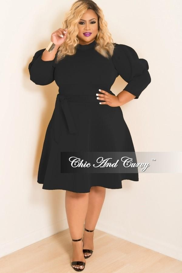 Plus Size Skater Dress with Puffy Sleeves and Attached Tie in Black ...
