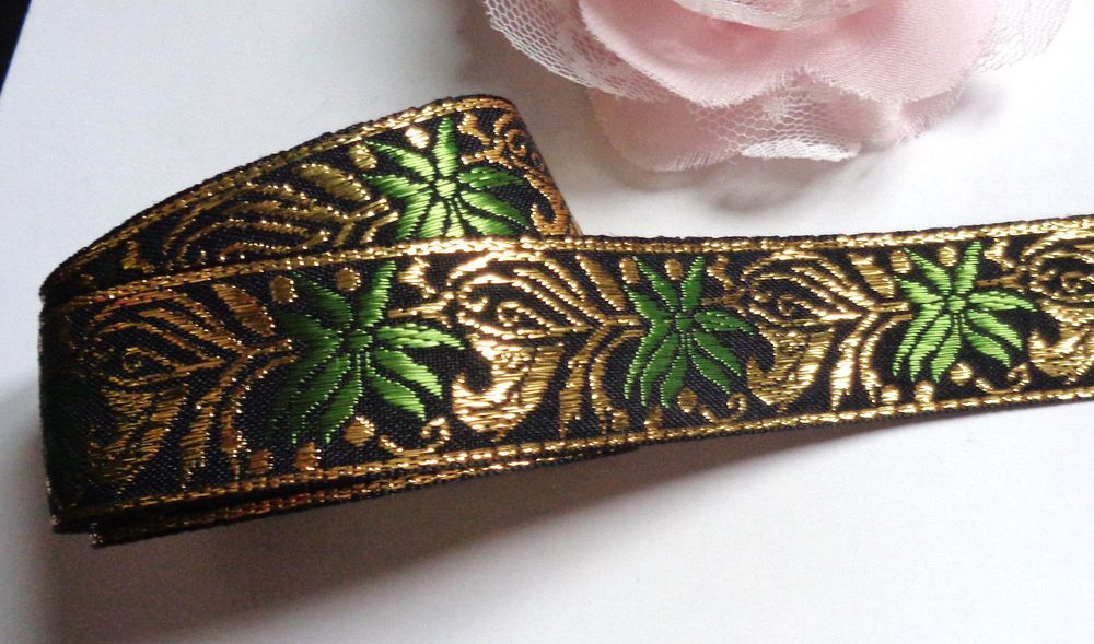 Jacquard Ribbon, 1 inch wide  selling by the yard #Unbranded