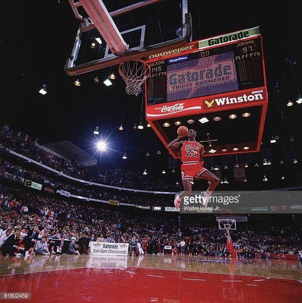 Basketball NBA Slam Dunk Contest Chicago Bulls Michael Jordan in action  making dunk during All Star