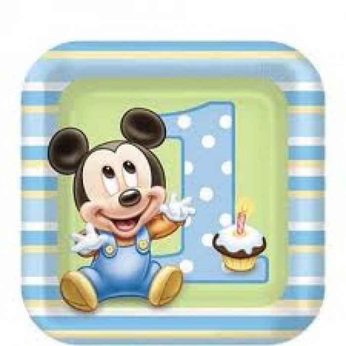 assiette dessert anniversaire gar on mickey 1 an pas cher. Black Bedroom Furniture Sets. Home Design Ideas
