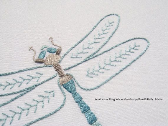 Anatomical dragonfly modern hand embroidery pattern