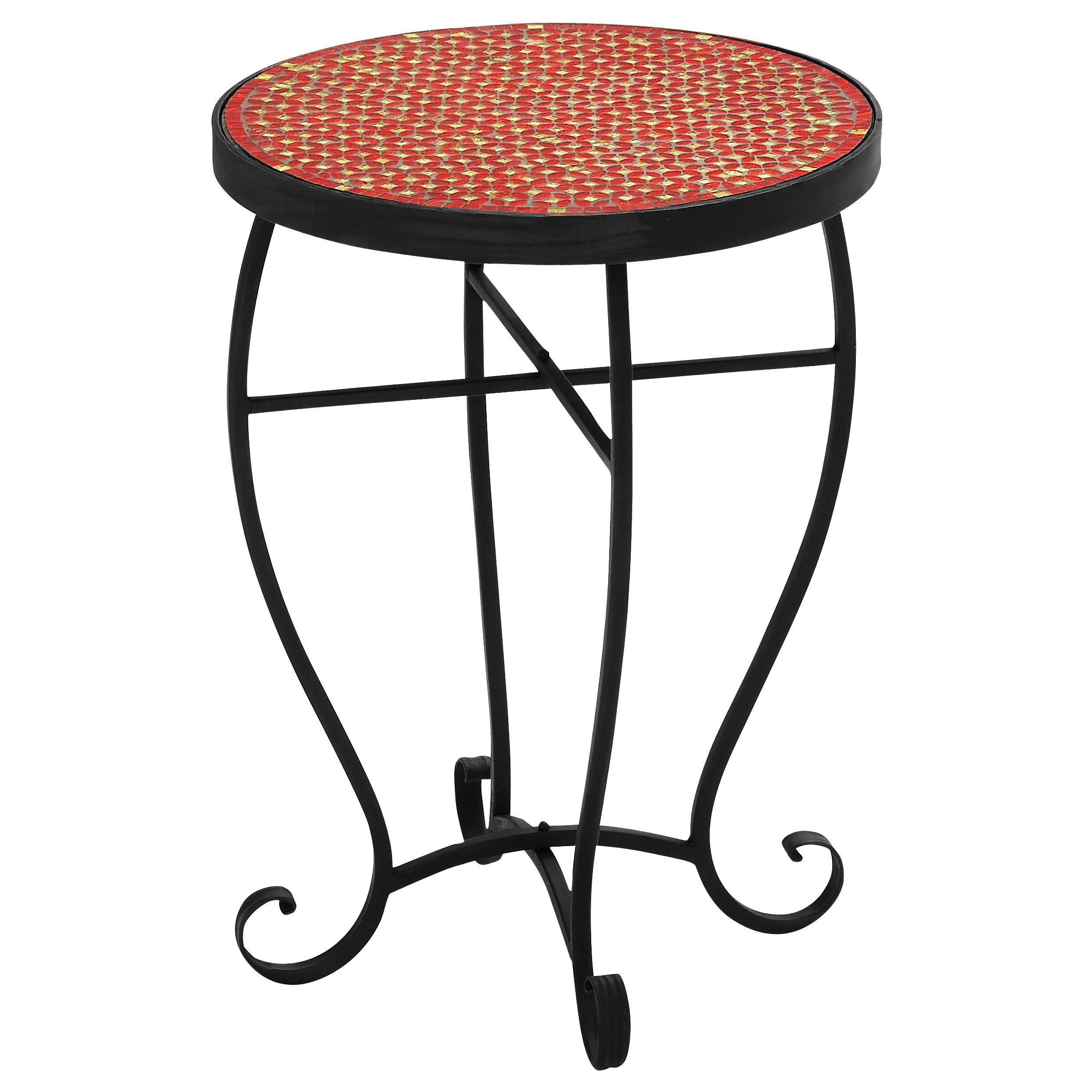 Red Mosaic Look Tile Top Ethnic Decorative End Table Accent Night Stand