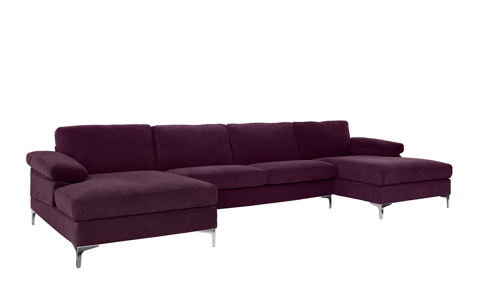 Amanda XL Modern Velvet Large Sectional Sofa   Purple