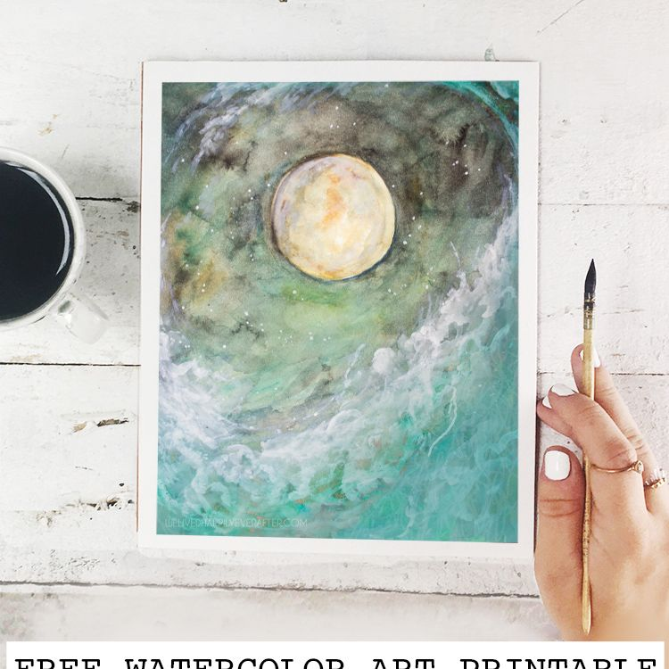 image about Starry Night Printable referred to as Absolutely free Watercolor Ocean Moon Wave H2o Starry Evening Sky