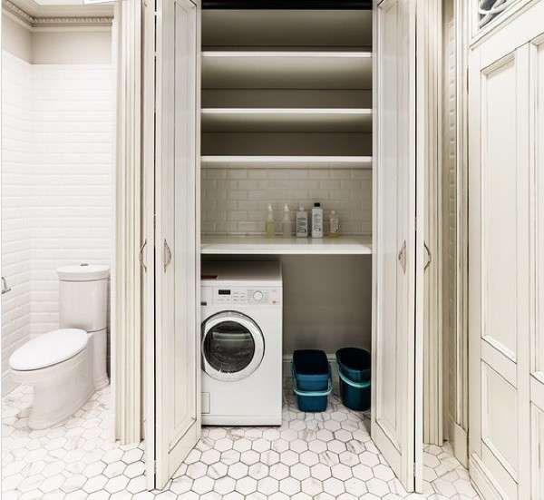Bagno piccolo con lavatrice - Bagno con mobiletto per lavatrice