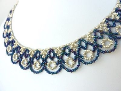 FREE beading pattern for lovely scalloped lace necklace made from