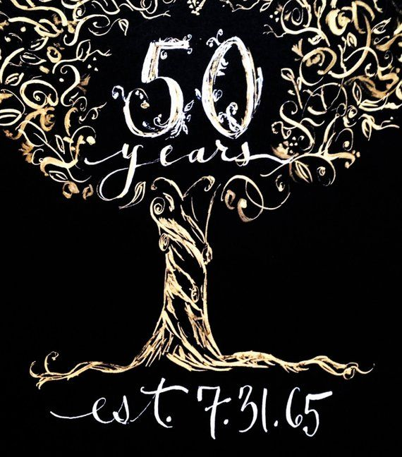 3497cf2a121 50th Anniversary Hand Painted Gift Print Custom Calligraphy Wedding- Golden  Family Tree- Art- Made t
