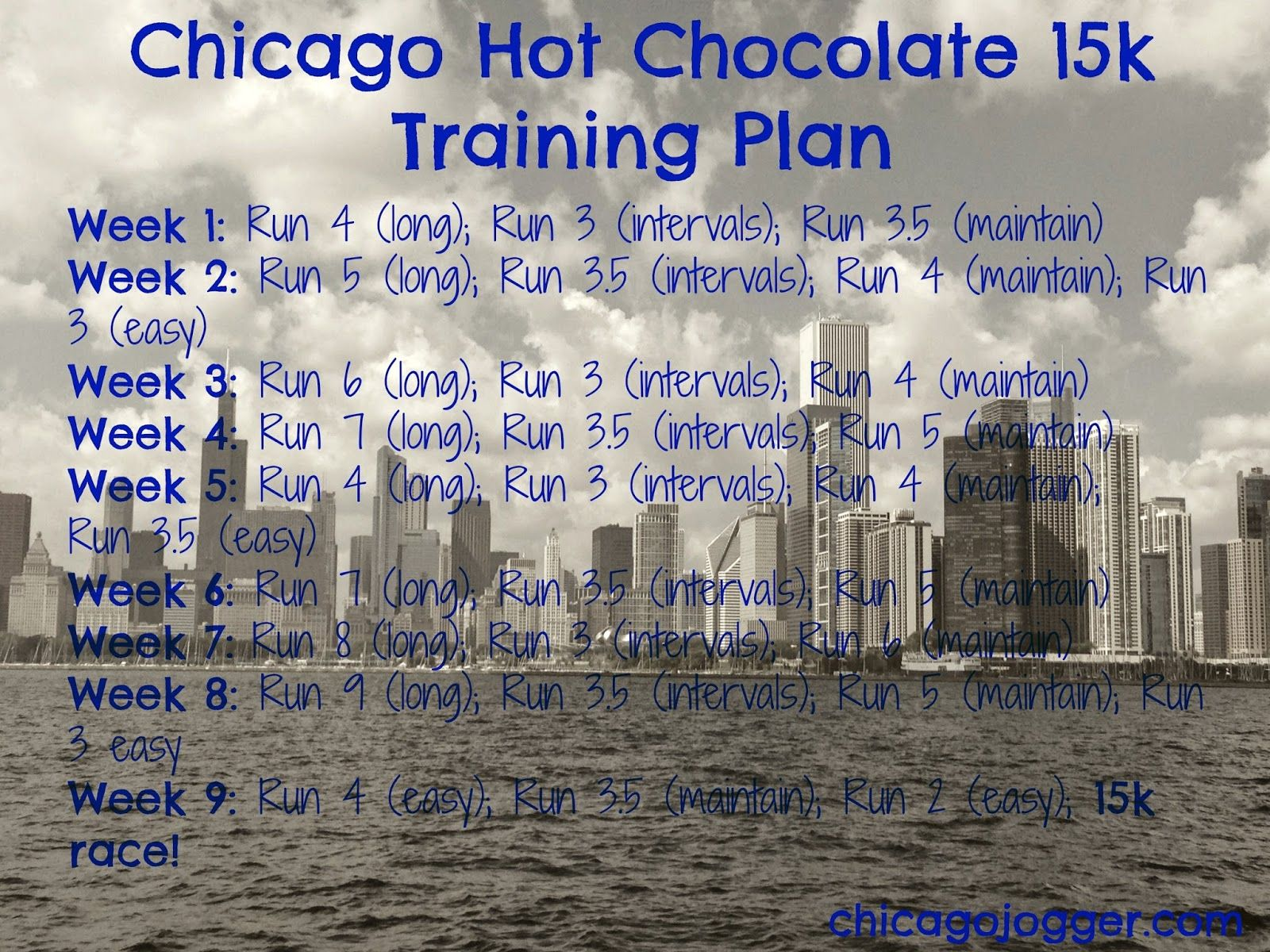 Hot Chocolate 15k Training Plan | chicagojogger.com | Frugal ...