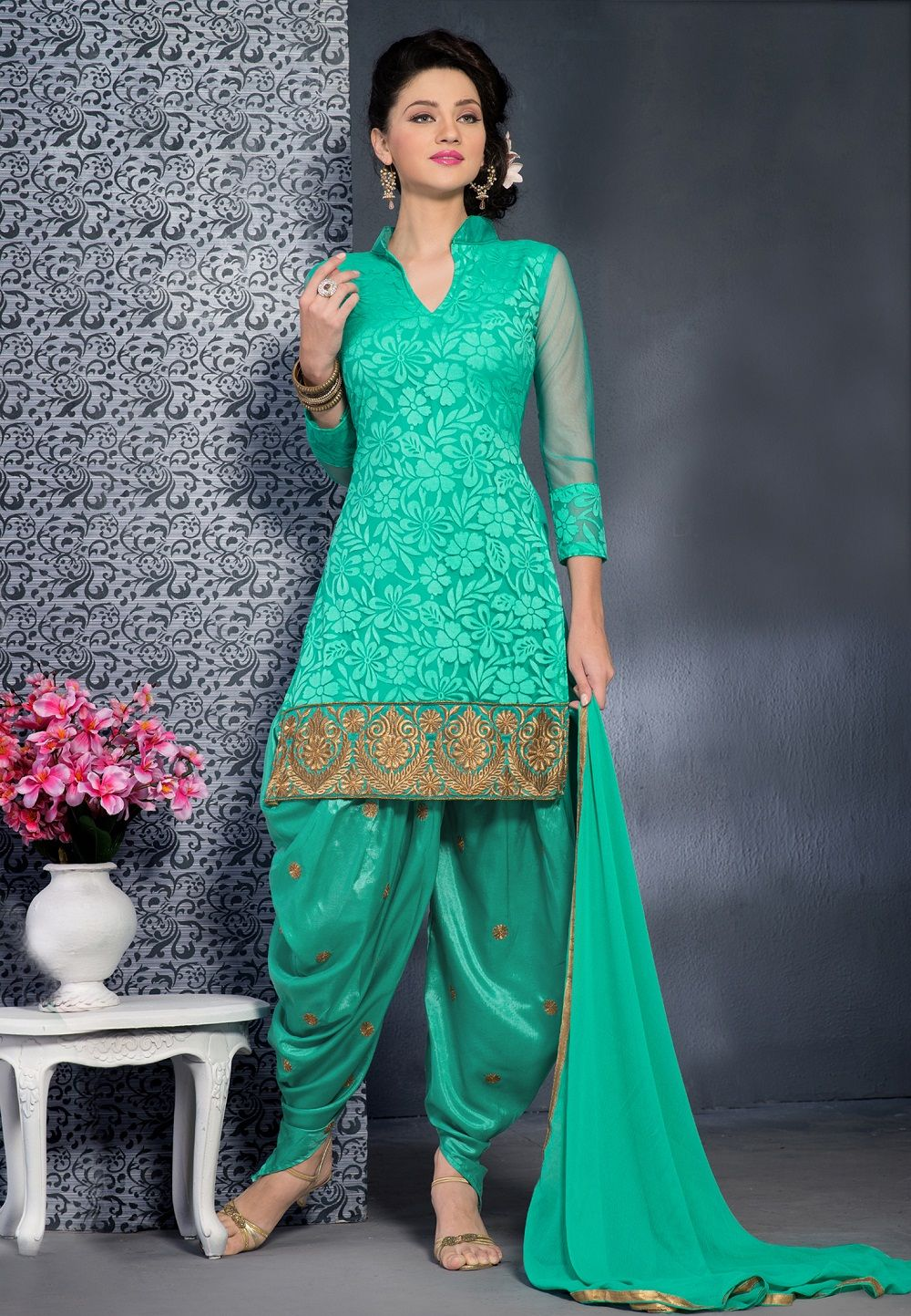 green brasso style  designer  punjabisalwarsuits with golden embroidery  border line b3a181b31