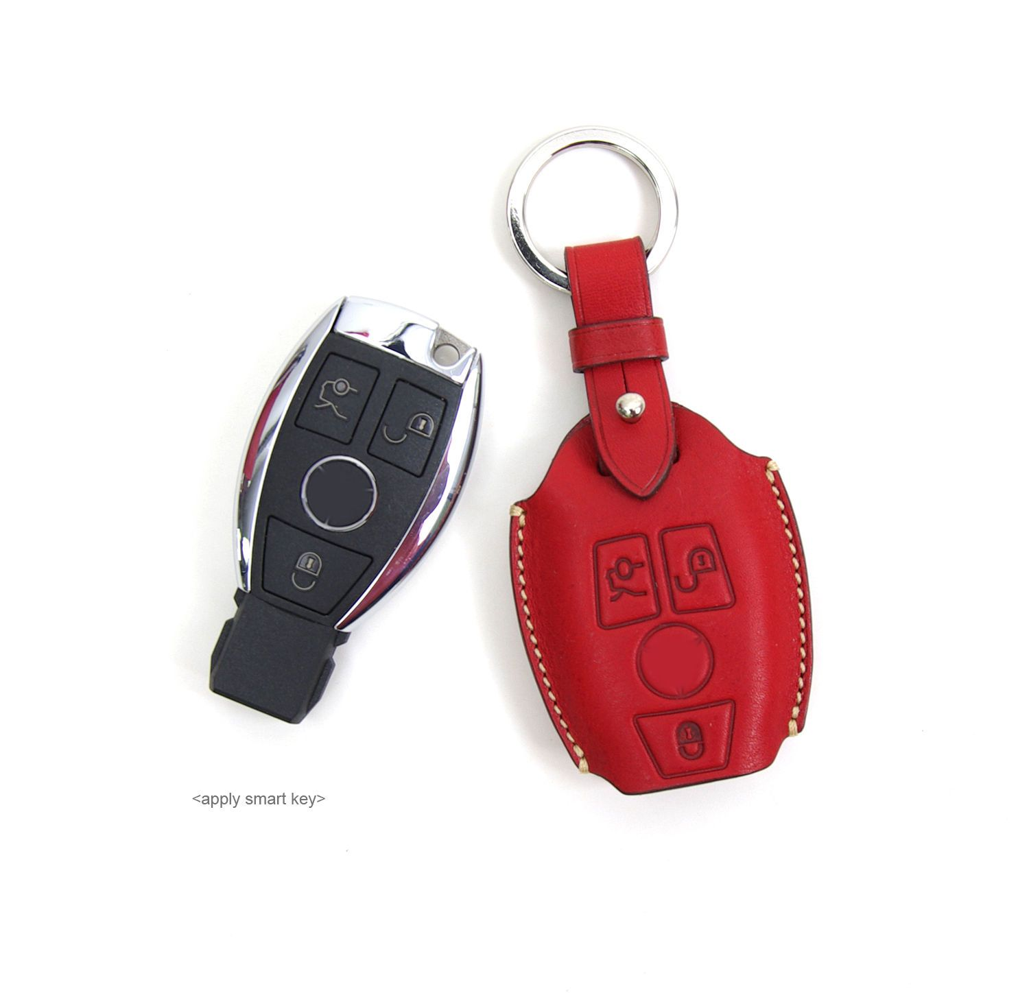 Smart Key Case Fob Chain Cover Handmade for Mercedes Benz