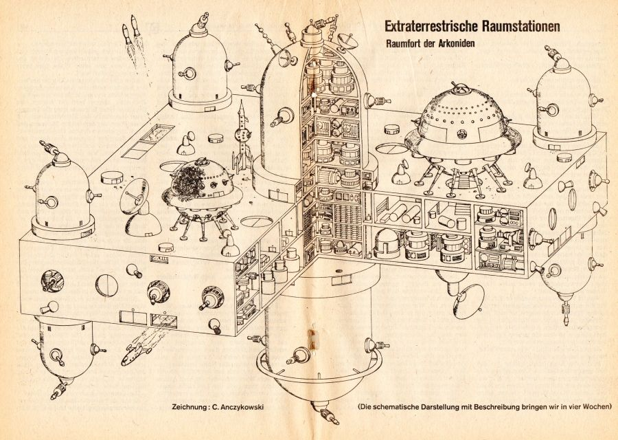 Perry Rhodan, Science Fiction, Weltaumstation, Illustration aus ...