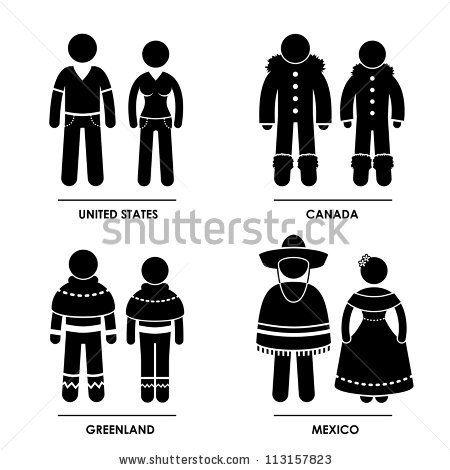 Traditional costumes of countries in North America.