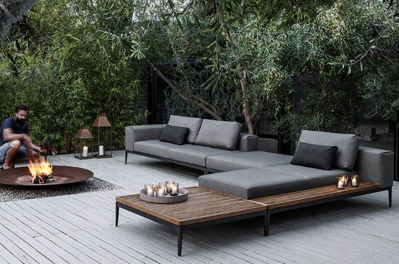 boden feuerstelle grid lounge wasserfeste polster in wohnzimmer feeling the shack. Black Bedroom Furniture Sets. Home Design Ideas