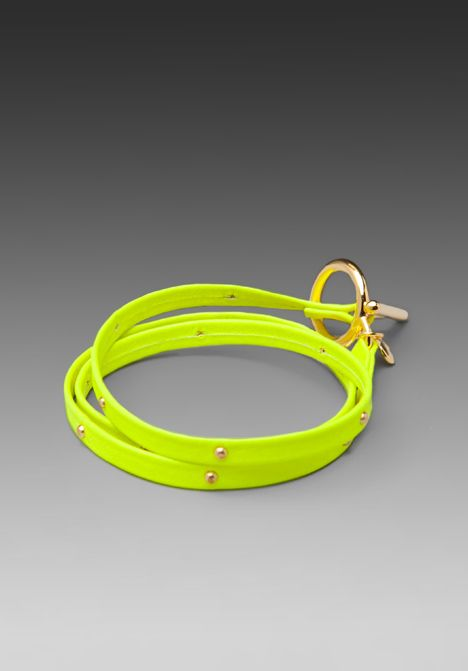 Gorjana Graham Leather Studded Wrap in Neon Yellow/Gold