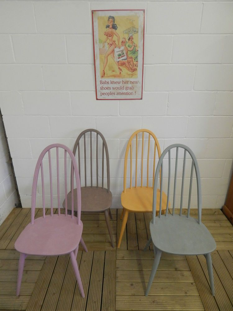Set Of 4 Ercol Windsor Quaker Dining Chairs Painted With