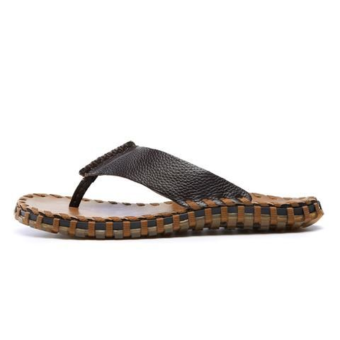 dca4245e44bf  EBay  Vesonal 2018 Genuine Leather Summer Handmade Slippers Men Shoes  Casual Fashion Male Flip Flops Beach Soft Comfortable 9066