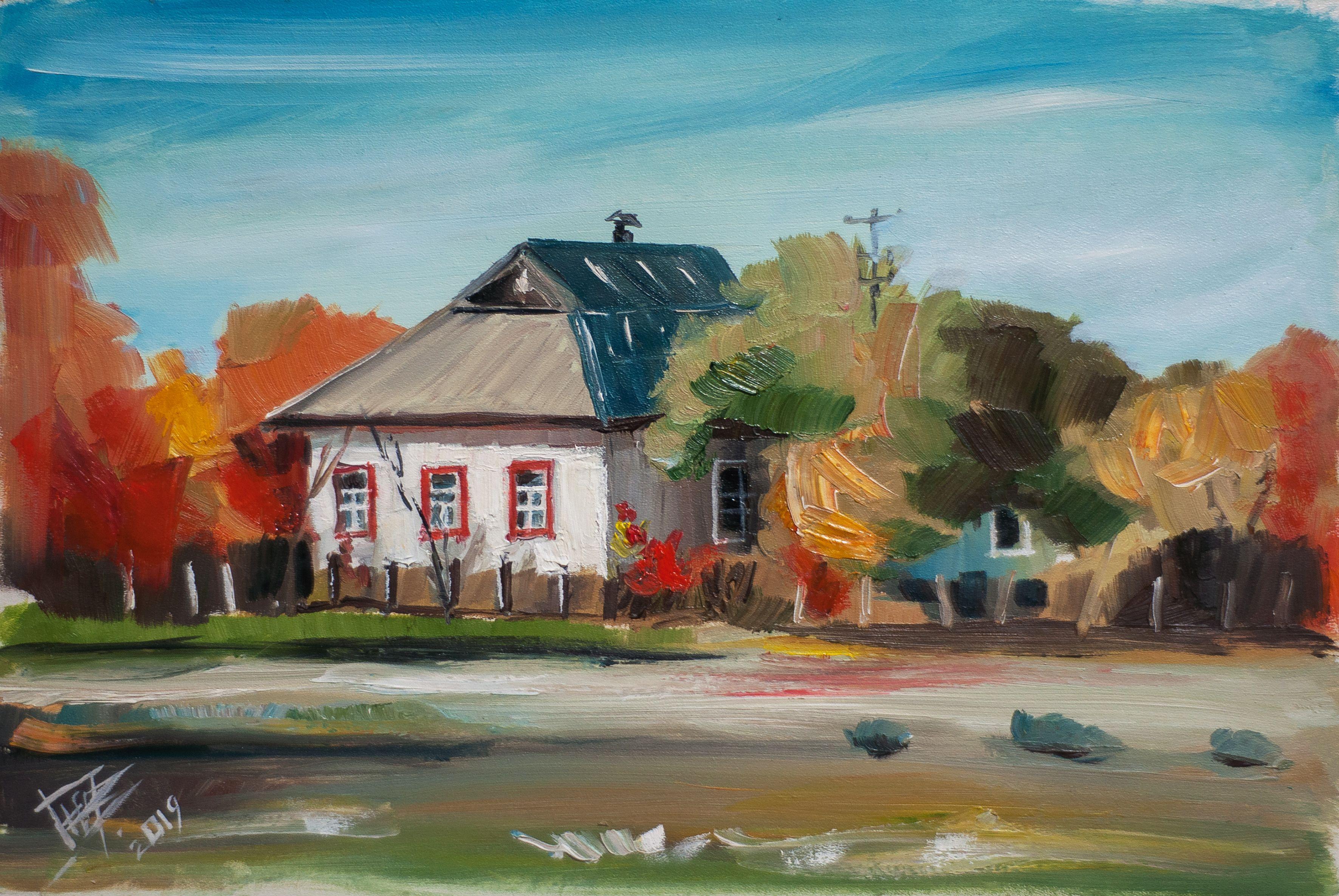 Autumn Landscape Original Ukrainian House Oil Painting Oil Etsy Painting Autumn Landscape California Art