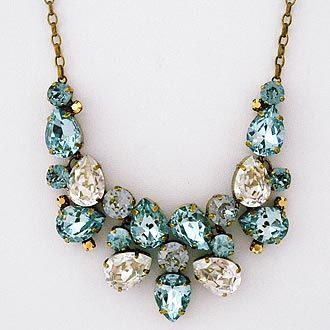 Crystal Pear Drop Statement Necklace. Sorrelli Afterglow collection. Color for brides, unexpected with black.