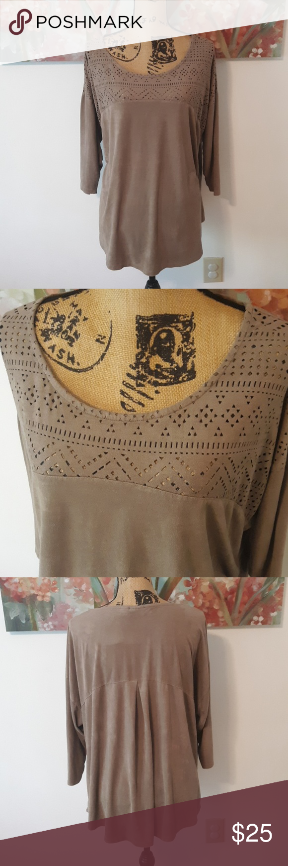 CATO Taupe Colored Top Size 18/20W CATO 3/4 Sleeve Taupe Colored Top with See-Through Upper Pattern Size 18/20W or 2X in Excellent Condition. It is light and soft with a suede feel.  - 27 armpit to armpit  - 28 long Cato Tops #wfaves