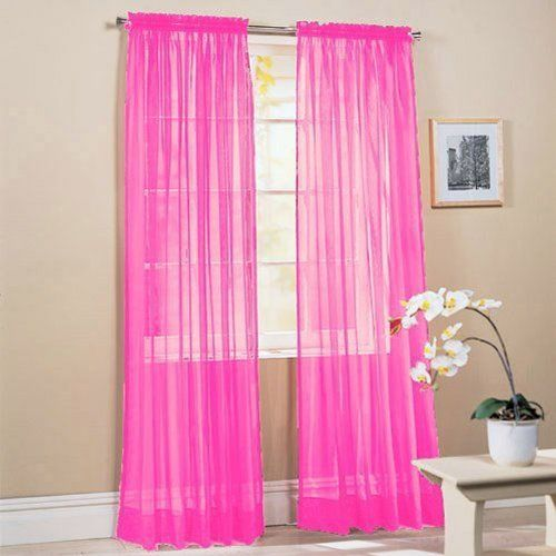 Hot Pink Curtains To Accent A Navy Blue And White Girl Nursery