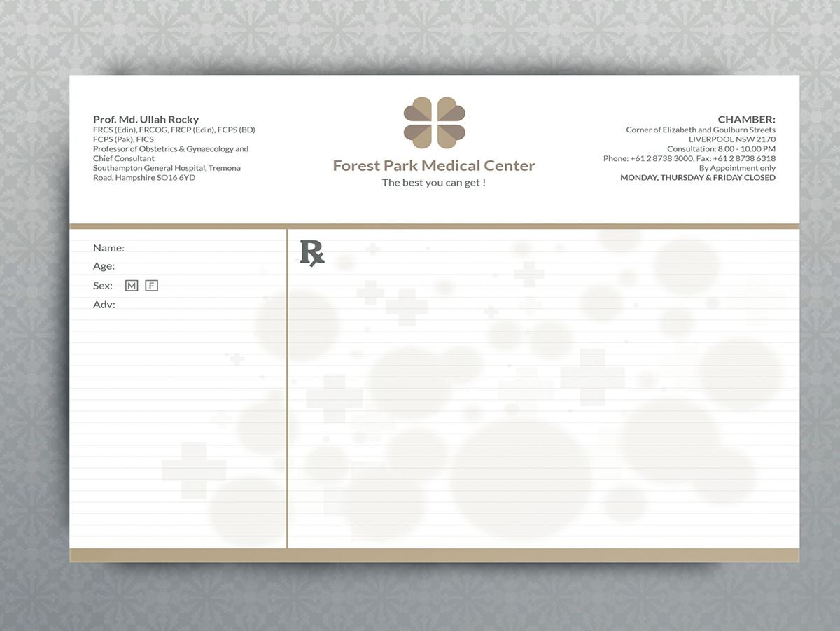 Prescription Pad On Behance Prescription Pad Medical Prescription Doctor Business Cards