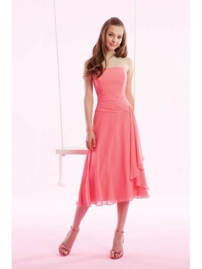 A-Line Strapless Dropped Waist Pleated Tea Length Chiffon Pink Evening Dresses