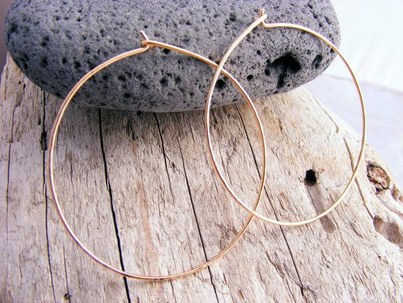 Large Gold Hoops, Skinny, Slim, Thin Hammered Hoop, Simple Light Everyday Wear 14kt Gold Filled Hoops Earring