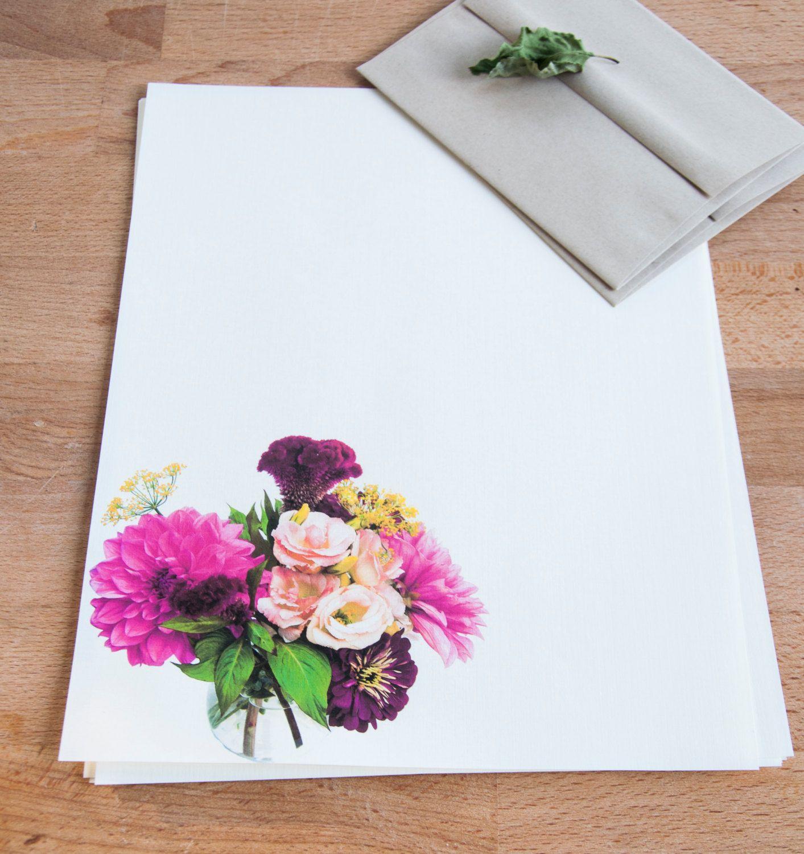 Romantic Bouquet Letter Writing Set Floral Personalized Letter