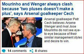 Petr-CECH's view of Arsene-WENGER & Jose-MOURINHO