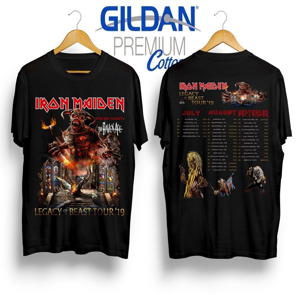 online store 8fc0c 9f0dc new Iron Maiden Legacy Of The Beast Tour 2019 Gildan Black T ...